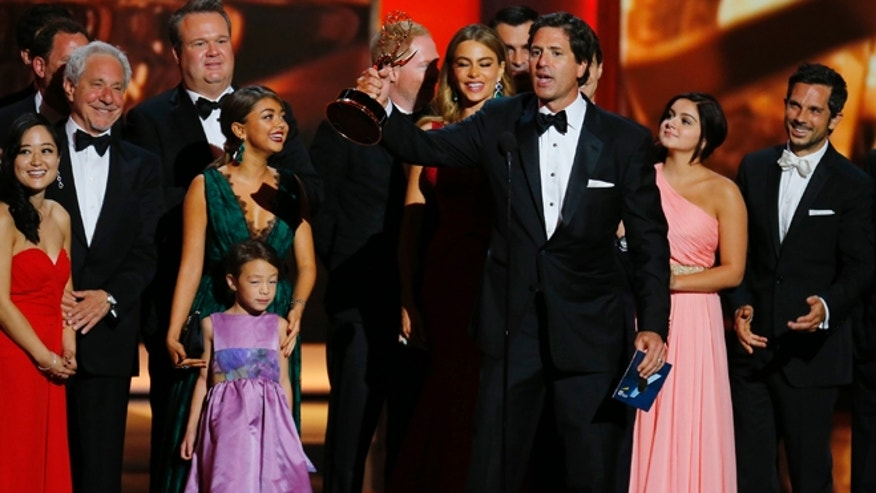 "Steven Levitan, Executive Producer, accepts the award for Outstanding Comedy Series for ""Modern Family"" at the 65th Primetime Emmy Awards in Los Angeles September 22, 2013."