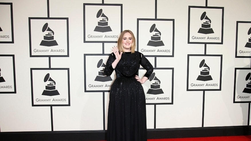 February 15, 2016. Singer Adele arrives at the 58th Grammy Awards in Los Angeles.