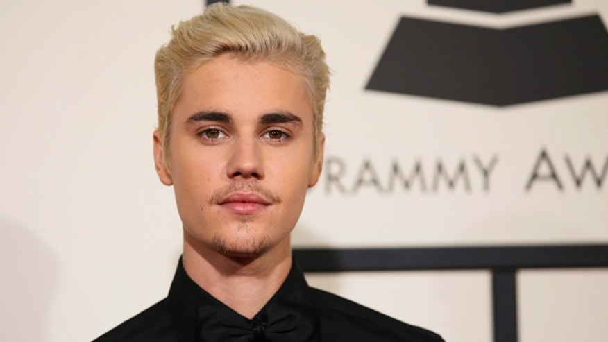 February 15, 2016. Singer Justin Bieber arrives at the 58th Grammy Awards in Los Angeles.