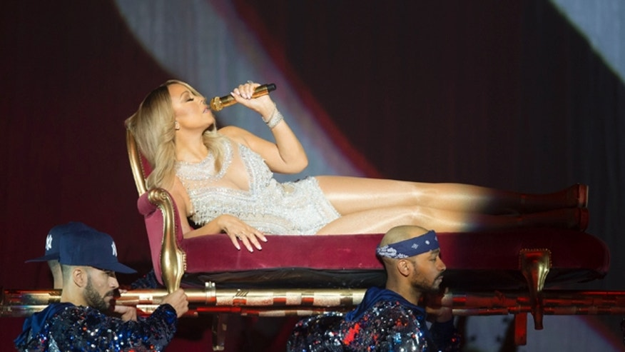 March 15, 2016. Mariah Carey performs onstage during her European tour at the SSE Hydro in Glasgow, Scotland.