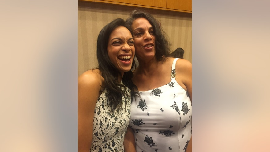 Actress Rosario Dawson (left) and her mother Isabel Celeste (right).