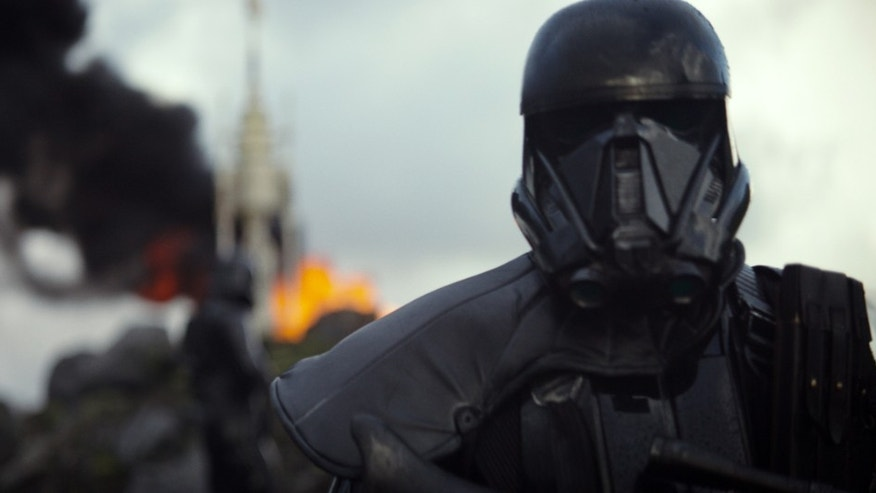 "This image released by Disney shows a scene from the upcoming film, ""Rogue One: A Star Wars Story."" The world got a glimpse of Rogue One: A Star Wars Story in teaser trailer that debuted Thursday, April 7, 2016 on Good Morning America that introduces the rag tag rebels who unite to steal the plans for the Death Star, including The Theory of Everythings Felicity Jones. The film directed by Gareth Edwards also stars Diego Luna, Forest Whitaker and Ben Mendelsohn."