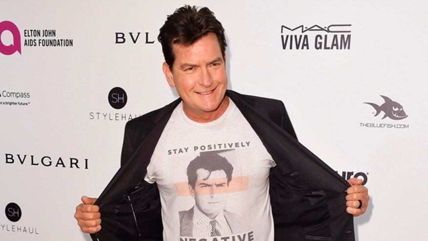 February 28, 2016. Actor Charlie Sheen arrives at the Elton John AIDS Foundation Academy Awards Viewing Party in West Hollywood, California.