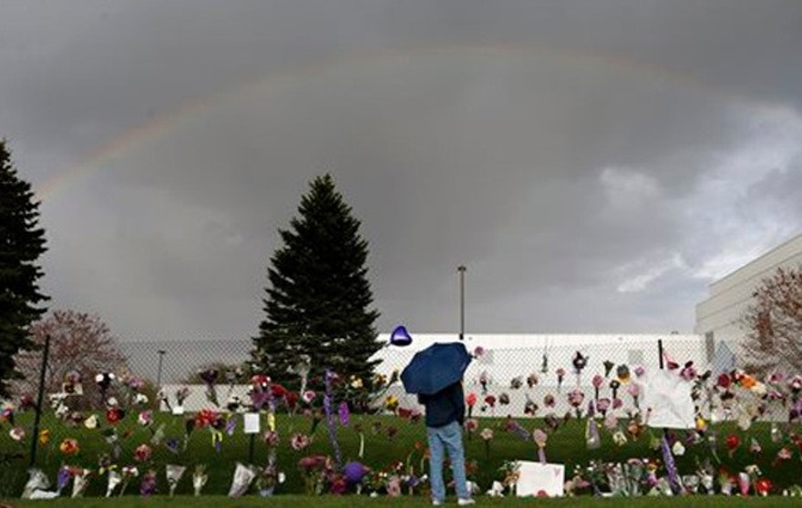 "A rainbow appears over Paisley Park near a memorial for Prince, Thursday, April 21, 2016, in Chanhassen, Minn. Prince, widely acclaimed as one of the most inventive and influential musicians of his era with hits including ""Little Red Corvette,"" ''Let's Go Crazy"" and ""When Doves Cry,"" was found dead at his home at Paisley Park on Thursday, according to his publicist. He was 57. (Carlos Gonzalez/Star Tribune via AP)"
