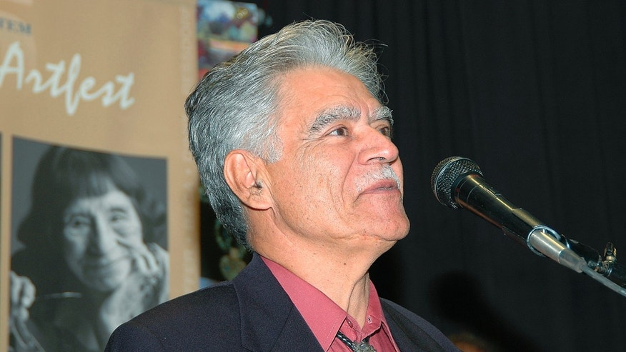 ALBUQUERQUE, NM - NOVEMBER 3: Chicano author Rudolfo Anaya speaks to the audience at Weems  International Artfest on November 3, 2005 in Albuquerque, New Mexico. (Photo by Steve Snowden/Getty Images)