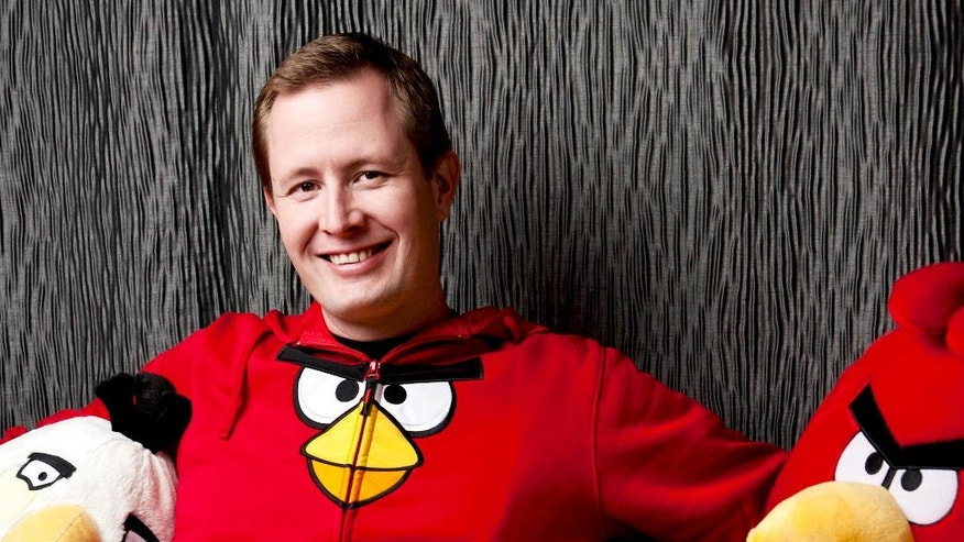 "This undated image released by Rovio Entertainment shows Mikael Hed, executive chairman at Rovio Animation Studios, which is dropping a code in the credits of the upcoming animated film, ""The Angry Birds Movie,"" that will hatch an exclusive level for a new pinball-inspired game called ""Angry Birds Action!"" A level set on Piggy Island, home to the Angry Birds' snout-faced adversaries, can only be unlocked if players pluck out their mobile devices and zap a code displayed during the film's credits when it debuts May 20. (Rovio Entertainment via AP)"