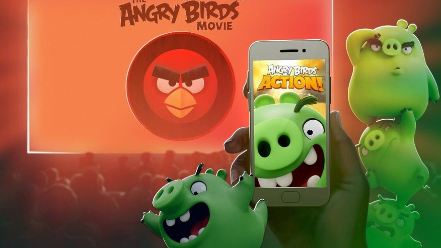 "This image released by Rovio Entertainment shows an animated visual cue for the movie magic interaction that will happen between the new game, ""Angry Birds Action!,"" and the upcoming film, ""The Angry Birds Movie."" A level set on Piggy Island, home to the Angry Birds' snout-faced adversaries, can only be unlocked if players pluck out their mobile devices and zap a code displayed during the film's credits when it debuts May 20. (Rovio Entertainment via AP)"