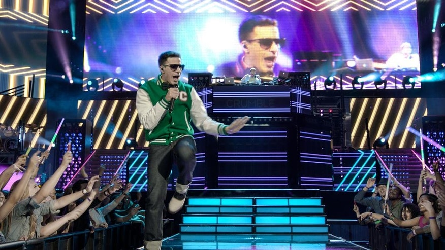 "In this image released by Universal Pictures, Andy Samberg appears in a scene from ""Popstar: Never Stop Never Stopping,"" in theaters nationwide on June 3. (Universal Pictures via AP)"