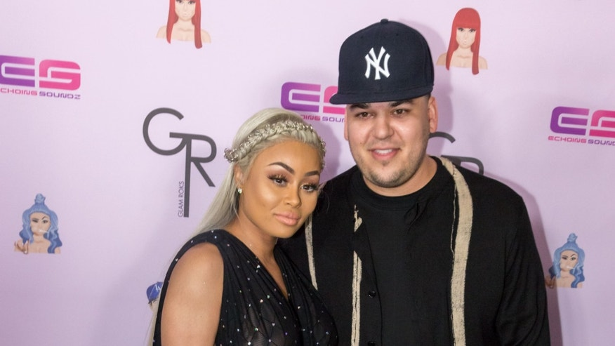 "HOLLYWOOD, CA - MAY 10:  Rob Kardashian and Blac Chyna arrive at her Blac Chyna Birthday Celebration And Unveiling Of Her ""Chymoji"" Emoji Collection at the Hard Rock Cafe on May 10, 2016 in Hollywood, California.  (Photo by Greg Doherty/Getty Images)"