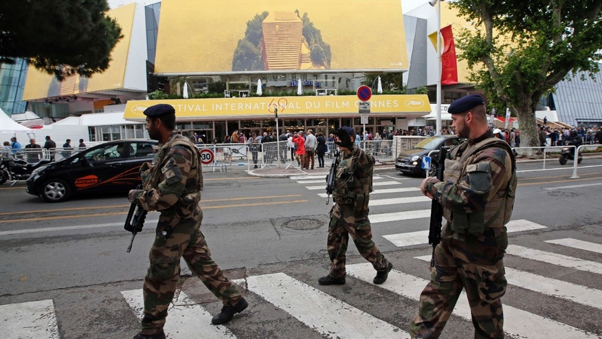May 11, 2016: French soldiers patrol in front of the Festival Palace before the opening of the 69th Cannes Film Festival in Cannes, France.