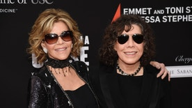 Actresses Jane Fonda, left, and Lily Tomlin pose together at the Rebels With A Cause Gala at The Barker Hangar on Wednesday, May 11, 2016, in Santa Monica, Calif. (Photo by Chris Pizzello/Invision/AP)
