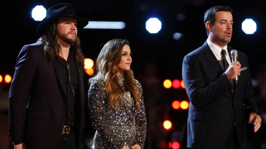 "THE VOICE -- ""Live Finale""  Episode: 1018B -- Pictured: (l-r) Adam Wakefield, Alisan Porter, Carson Daly -- (Photo by: Trae Patton/NBC)"