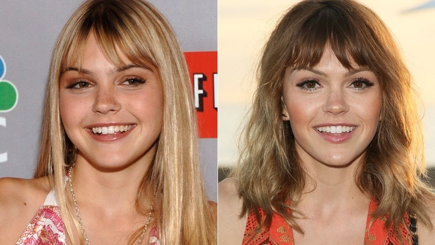 Aimee Teegarden in 2006, left, and in a recent headshot.