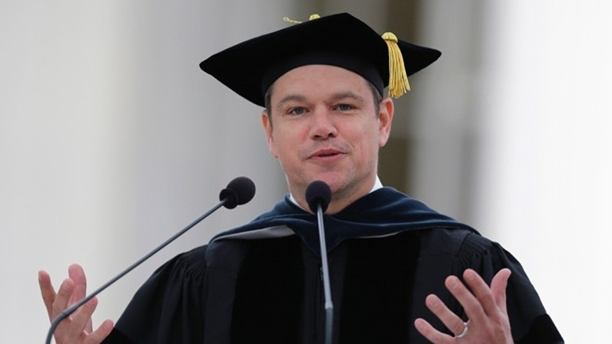 Matt Damon during his address at MIT's graduation ceremony.