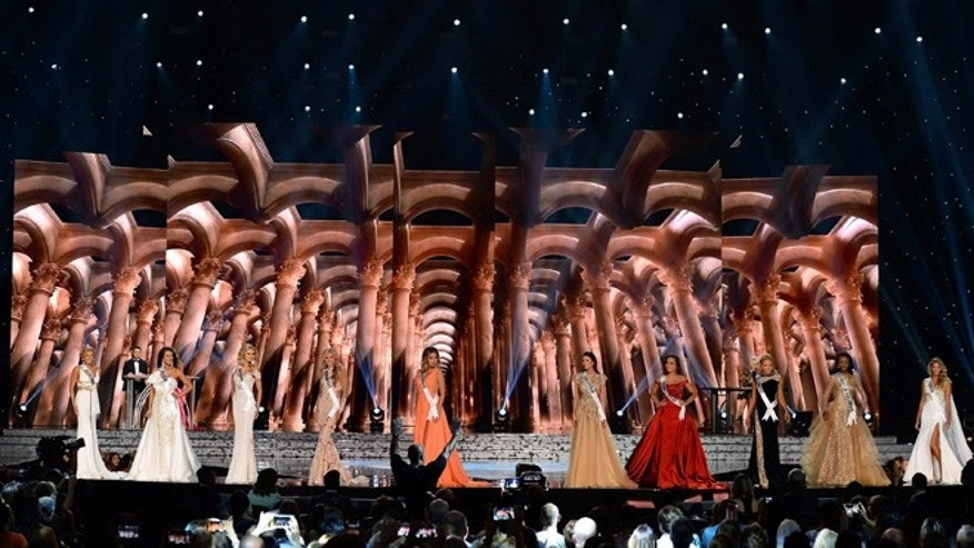 LAS VEGAS, NV - JUNE 01:  Contestants compete in the evening gown competition during the 2016 Miss USA pageant preliminary competition at T-Mobile Arena on June 1, 2016 in Las Vegas, Nevada. The 2016 Miss USA will be crowned on June 5 in Las Vegas.  (Photo by Ethan Miller/Getty Images)