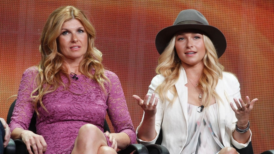"Actresses Connie Britton (L) and  Hayden Panettiere, two of the stars of the new drama series ""Nashville"",  speak during a panel discussion at the Disney-ABC Television Group portion of the Television Critics Association Summer press tour in Beverly Hills, California July 27, 2012.  REUTERS/Fred Prouser (UNITED STATES - Tags: ENTERTAINMENT) - RTR35EDT"