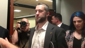 "FILE - In this May 29, 2015, file photo, television actor Dustin Diamond, center, leaves court in Port Washington, Wisc. Wisconsin Department of Corrections records show the former ""Saved by the Bell"" star violated his probation last month by using a painkiller without permission. Diamond was arrested on May 25 and placed in jail in Ozaukee County for what corrections officials described as a probation violation. Records the agency released Friday June 10, 2016, show a urine test Diamond took that day came back positive for oxycodone. (AP Photo/Dana Ferguson, File)"