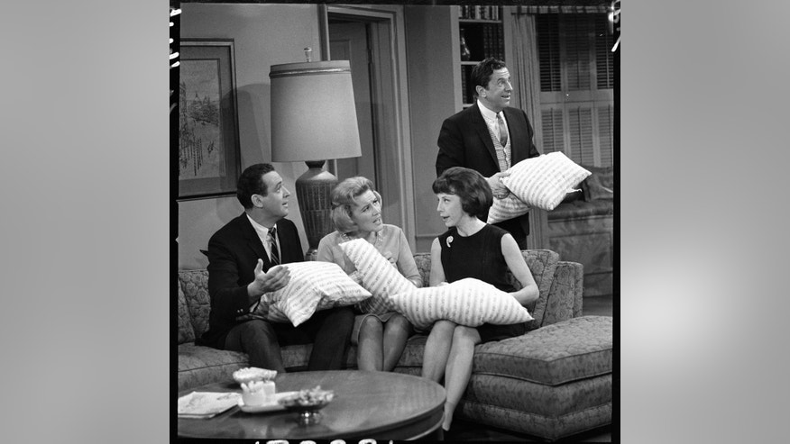 "From left: Jerry Paris (as Jerry Helper), Rose Marie (as Sally Rogers), Ann Morgan Guilbert (as Millie Helper), and Morey Amsterdam (as Buddy Sorrell) in the ""Dick Van Dyke."" Image dated December 22, 1964."
