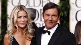 FILE - In this Jan. 16, 2011 file photo, actor Dennis Quaid and his wife Kimberly Buffington Quaid arrive for the Golden Globe Awards in Beverly Hills, Calif.  Kimberly filed for divorce on Monday, June 27, 2016 in Los Angeles Superior Court, citing irreconcilable differences. Kimberly Quaid's filing seeks joint legal custody of their 8-year-old twins, as well as spousal support. (AP Photo/Matt Sayles, file)