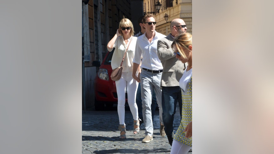 Taylor Swift is seen with Tom Hiddleston near Piazza Navona in Rome, Italy.