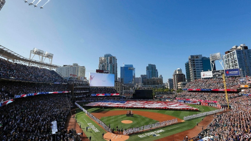 Jets fly above Petco Park during the national anthem prior to the MLB baseball All-Star Game, Tuesday, July 12, 2016, in San Diego.