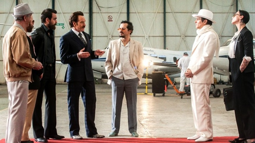 TI_D009_LD_00053_R_CROP (l to r) Simón Andreu stars as Gonzalo Mora Sr., Rubén Ochandiano as Gonzalo Mora Jr., Joseph Gilgun as Dominic, Bryan Cranston as undercover U.S. Customs agent Robert Mazur, John Leguizamo as his partner Emir Abreu, Yul Vazquez as Javier Ospina and Xarah Xavier as Lau in THE INFILTRATOR, a Broad Green Pictures release. Credit: Liam Daniel / Broad Green Pictures