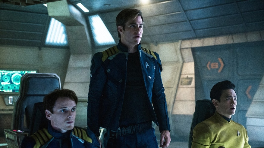 "In this image released by Paramount Pictures, from left, Anton Yelchin, Chris Pine and John Cho appear in a scene from, ""Star Trek Beyond."""