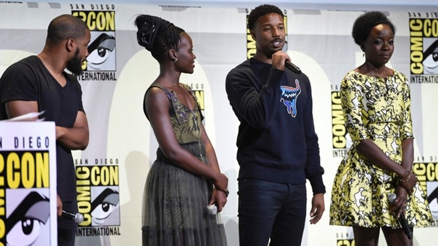 "FILE - In this July 23, 2016 file photo, director Ryan Coogler, from left, Lupita Nyong'o, Michael B. Jordan and Danai Gurira attend the ""Black Panther"" panel on day 3 of Comic-Con International in San Diego. The movie set to begin filming in January will mark the third time director Ryan Coogler has worked with actor Michael B. Jordan. They teamed up previously on ""Creed"" and ""Fruitvale Station.""  (Photo by Chris Pizzello/Invision/AP, File)"