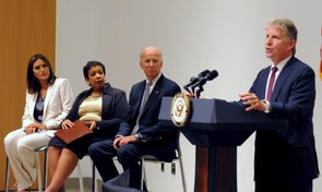 "Manhattan District Attorney Cyrus R. Vance (R) speaks at the podium as U.S. Vice President Joe Biden and U.S. Attorney General Loretta B. Lynch look on with actress Mariska Hargitay (L) during an news conference in New York, September 10, 2015. The three were announcing the award of approximately $80million in grants to eliminate backlogs of untested sexual assault evidence kits or ""rape kits"".  REUTERS/Stephanie Keith - RTSIUF"