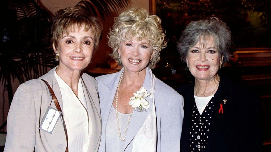 Musical film stars Anna Maria Alberghetti (L), Connie Stevens and Gloria DeHaven (R) pose for photographers prior to a luncheon June 12 sponsored by American Movie Classics honoring Ladies of the Musical and highlighting the need for film preservation at the Beverly Hills Hotel.