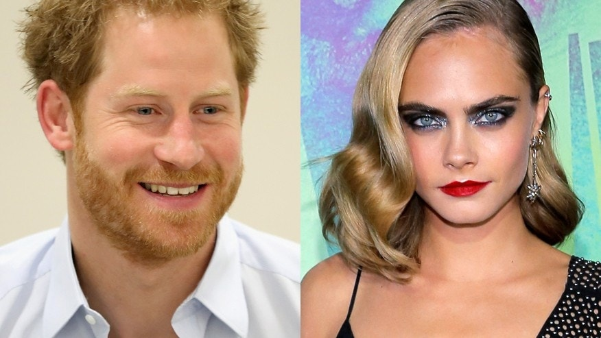 Britain's Prince Harry (left) and actress Cara Delevingne.