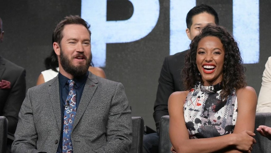 """Mark-Paul Gosselaar, left, and Kylie Bunbury participate in the """"Pitch"""" panel during the FoxTelevision Critics Association summer press tour on Monday, Aug. 8, 2016, in Beverly Hills, Calif. (Photo by Richard Shotwell/Invision/AP)"""
