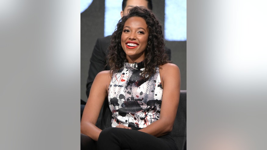 """Kylie Bunbury participates in the """"Pitch"""" panel during the Fox Television Critics Association summer press tour on Monday, Aug. 8, 2016, in Beverly Hills, Calif. (Photo by Richard Shotwell/Invision/AP)"""