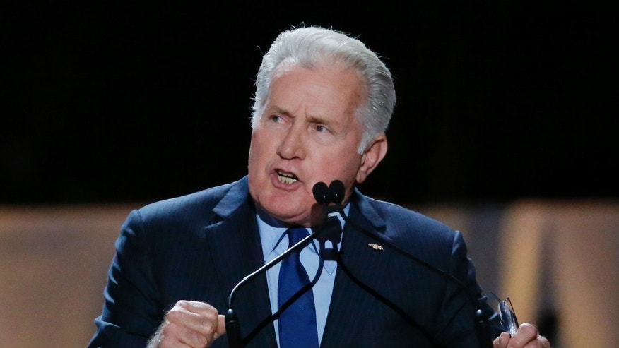 Actor Martin Sheen speaks inside Madison Square Garden where Pope Francis will give a mass later in the day, in New York September 25, 2015.
