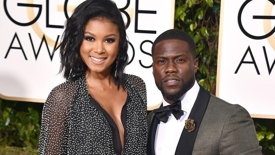 Eniko Parrish, left, and Kevin Hart arrive at the 73rd annual Golden Globe Awards in Beverly Hills, Calif.
