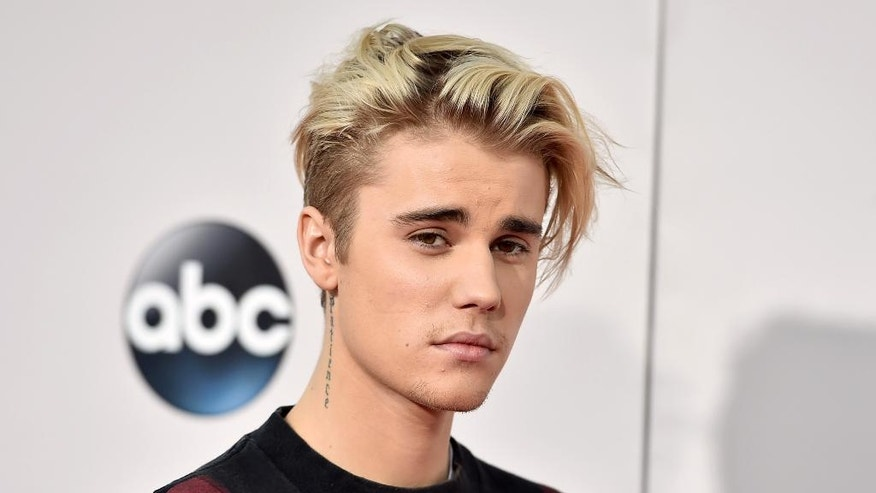 In this Nov. 22, 2015 file photo, Justin Bieber arrives at the American Music Awards at the Microsoft Theater in Los Angeles.