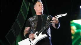 "FILE - In this May 9, 2015 file photo, James Hetfield of Metallica performs at Rock in Rio USA in Las Vegas. The band announced Thursday its releasing its first album in eight years. ""Hardwired ... To Self-Destruct"" will feature 80 minutes of music from the veteran heavy metal group. The album is scheduled for release Nov. 18. (Photo by John Davisson/Invision/AP, File)"