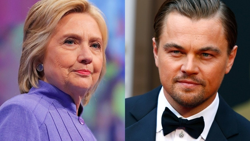 Hillary Clinton (left) and actor Leonardo DiCaprio.