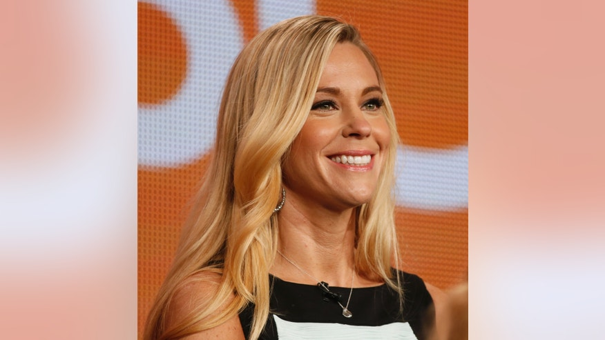 "Participant Kate Gosselin speaks about the NBC television show ""The Celebrity Apprentice"" during the TCA presentations in Pasadena, California, January 16, 2015."