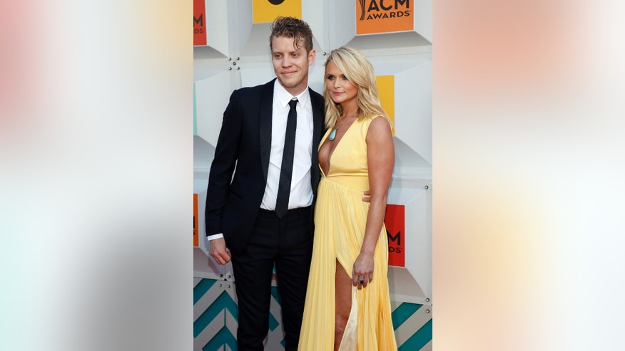 Musician Anderson East and singer Miranda Lambert arrive at the 51st Academy of Country Music Awards in Las Vegas, Nevada April 3, 2016.