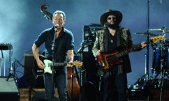 Bruce Springsteen, left, and Don Was perform on stage at the 2015 MusiCares Person of the Year show at the Los Angeles Convention Center on Friday, Feb. 6, 2015, in Los Angeles. (Photo by Vince Bucci/Invision/AP)