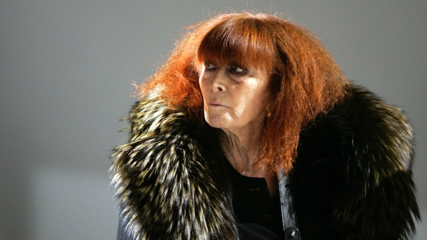 FILE - In this Jan.18 2008 file photo, French fashion designer Sonia Rykiel looks on prior to the presentation of her men's fall/winter 2008-2009 fashion collection presented in Paris.