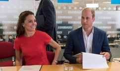 Britain's Catherine, Duchess of Cambridge, and Prince William smile during a visit to a helpline service, as part of a Heads Together campaign in London, Britain, August 25, 2016. REUTERS/Arthur Edwards/Pool - RTX2N19K