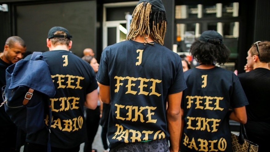 "People wearing ""The Life of Pablo"" merchandise after visiting a pop up store in Manhattan."
