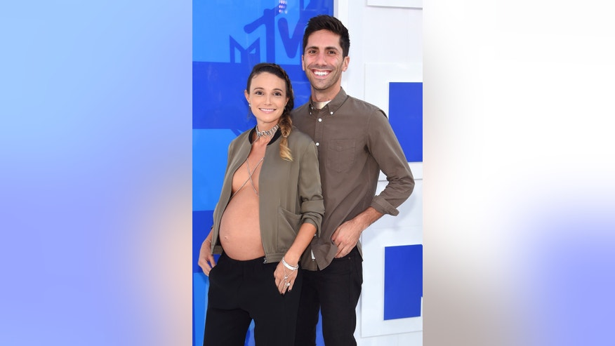 Laura Perlongo and producer Nev Schulman attend the 2016 MTV Video Music Awards at Madison Square Garden on August 28, 2016 in New York City.