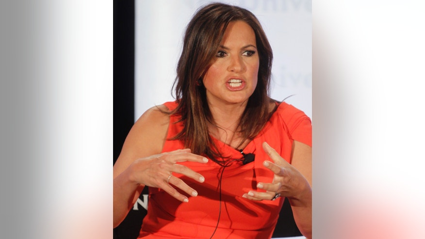 """Law & Order: SVU"" cast member Mariska Hargitay takes part in a panel discussion at the NBC Universal Summer Press Day 2012 in Pasadena, California April 18, 2012."