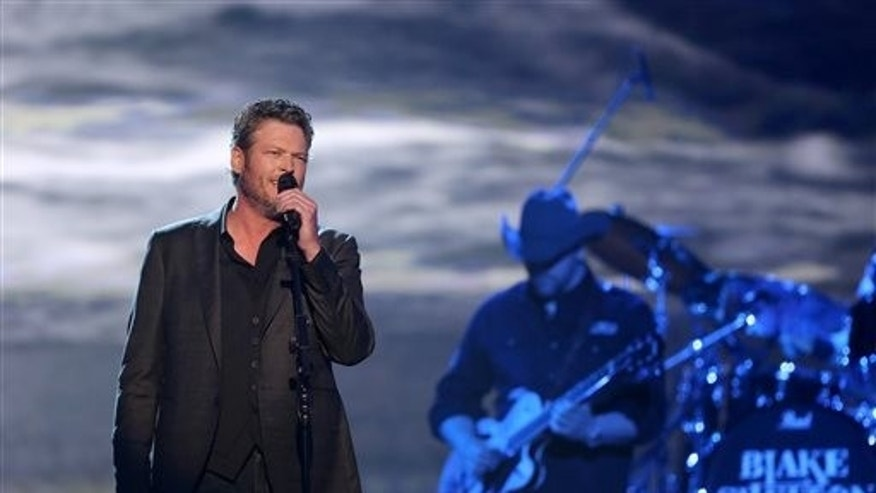 """Blake Shelton performs """"I Came Here to Forget"""" at the 51st annual Academy of Country Music Awards at the MGM Grand Garden Arena on Sunday, April 3, 2016, in Las Vegas."""