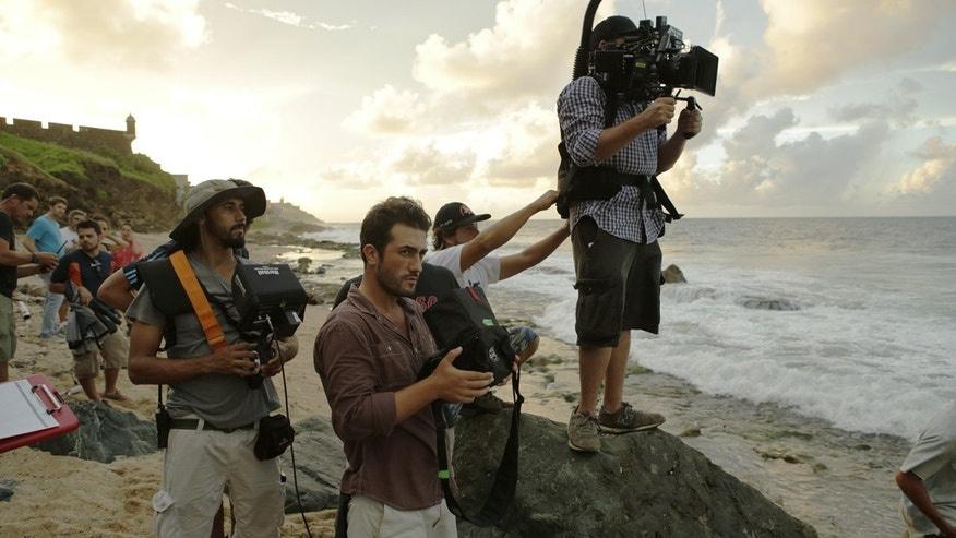 Martin Sheen and cinematographer Santiago Benet Mari on the set of The Vessel (photo courtesy TheVesselMovie.com)