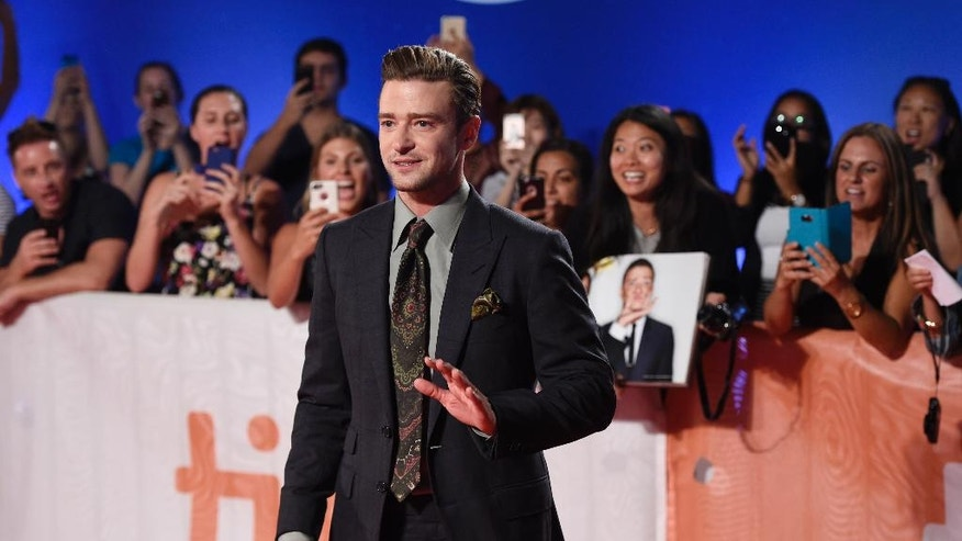 "Justin Timberlake, star of the concert film ""Justin Timberlake + The Tennessee Kids,"" poses at the premiere of the film on day 6 of the Toronto International Film Festival at Roy Thomson Hall on Tuesday, Sept. 13, 2016, in Toronto."