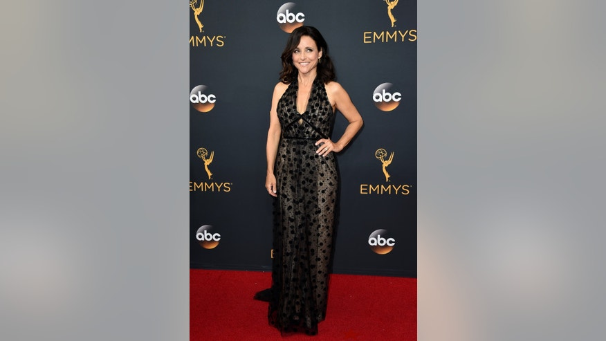 Julia Louis-Dreyfus arrives at the 68th Primetime Emmy Awards on Sunday, Sept. 18, 2016, at the Microsoft Theater in Los Angeles. (Photo by Jordan Strauss/Invision/AP)